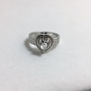 Clear Stone Silver Ring Size 8.5!